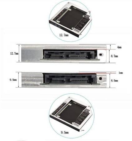 "Kieszeń na Dysk 2,5"" SATA HDD SSD 12,7mm"
